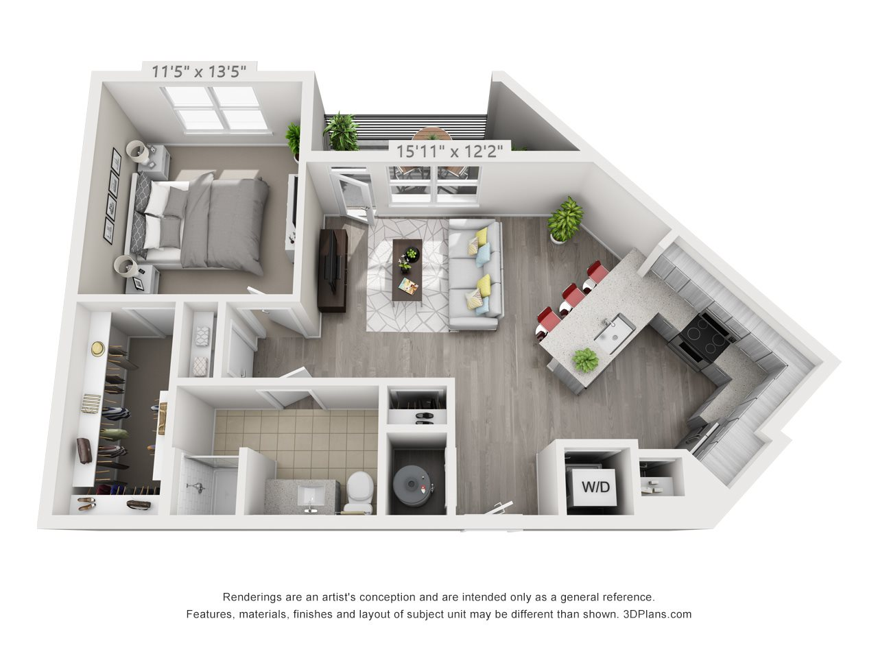 A3A 1 BEDROOM/1 BATH/ ACCESSIBLE Floor Plan 5