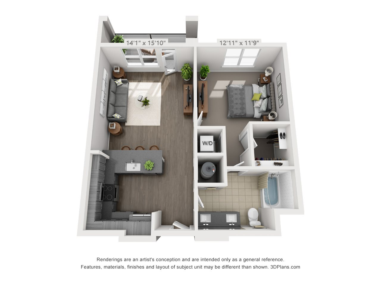 A4 1 BEDROOM/1 BATH Floor Plan 6