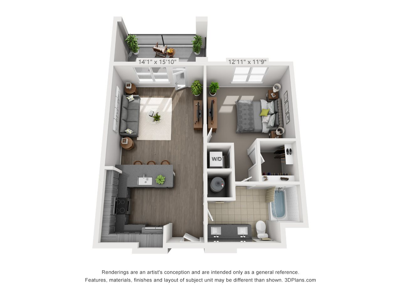 A4B 1 BEDROOM/1 BATH/ BALCONY Floor Plan 7