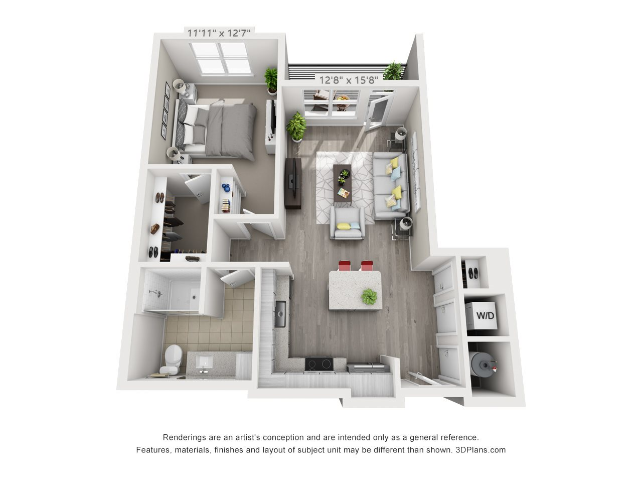 A5 1 BEDROOM/1 BATH Floor Plan 8
