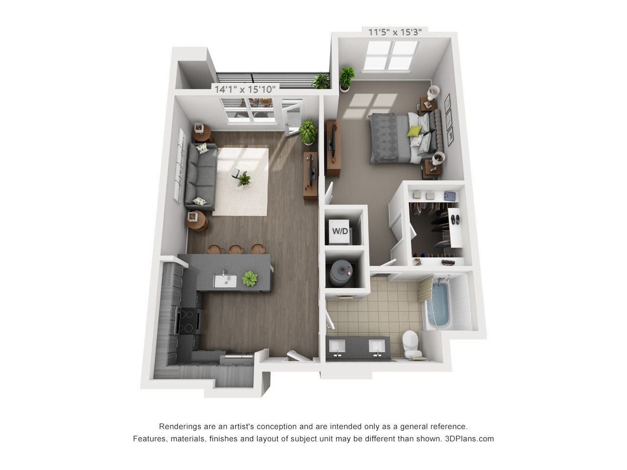 A6 1 BEDROOM/1 BATH Floor Plan 9