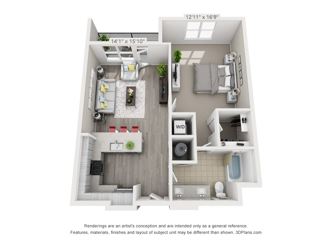 A7 1 BEDROOM/1 BATH Floor Plan 10