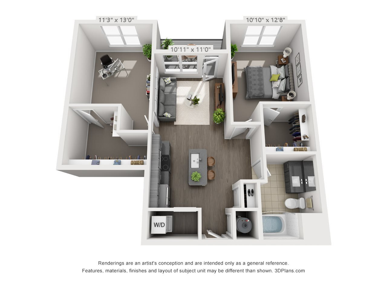 A8 1 BEDROOM/1 BATH/ OFFICE Floor Plan 11