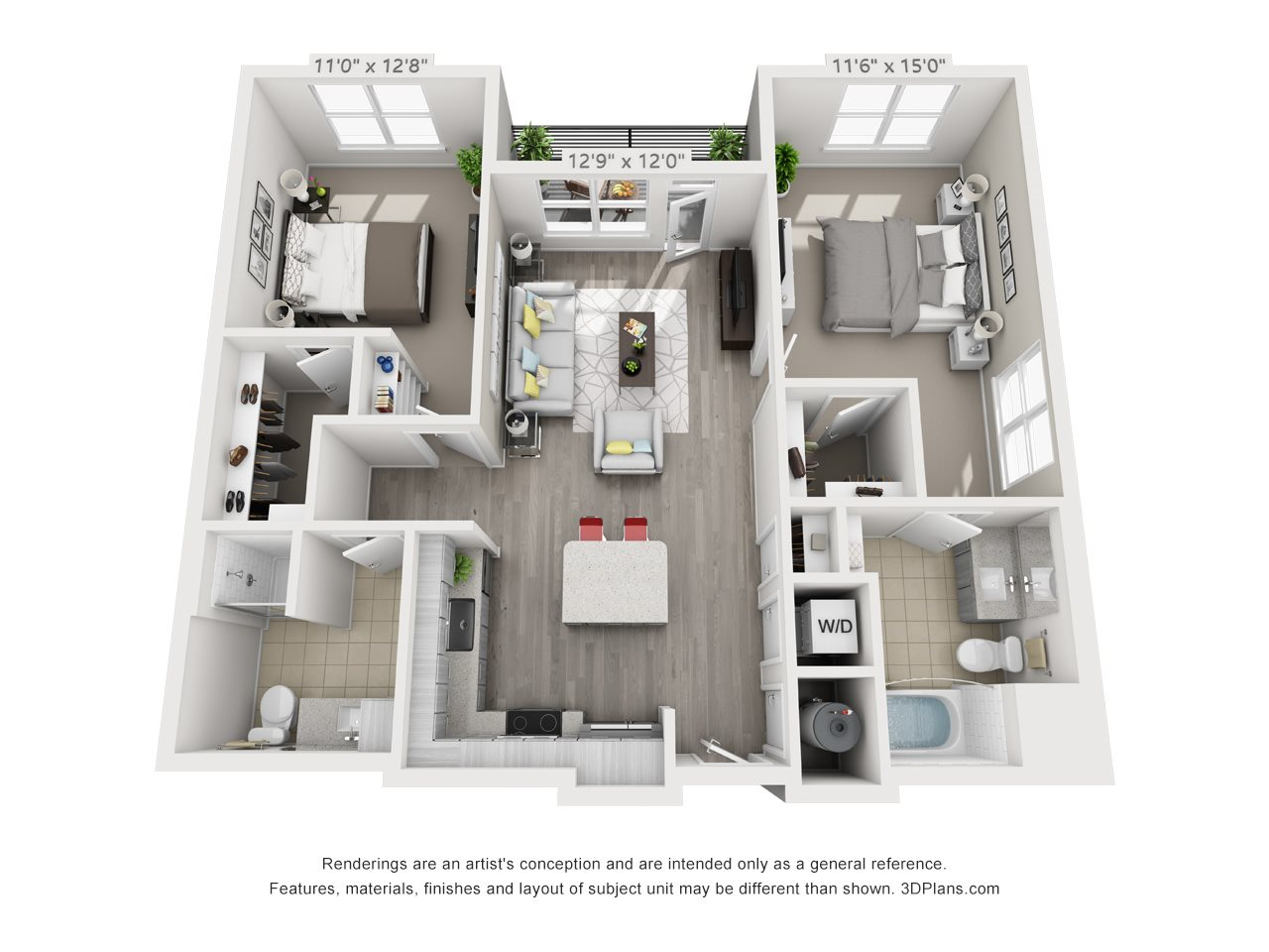 B1 2 BEDROOM/2 BATH Floor Plan 12