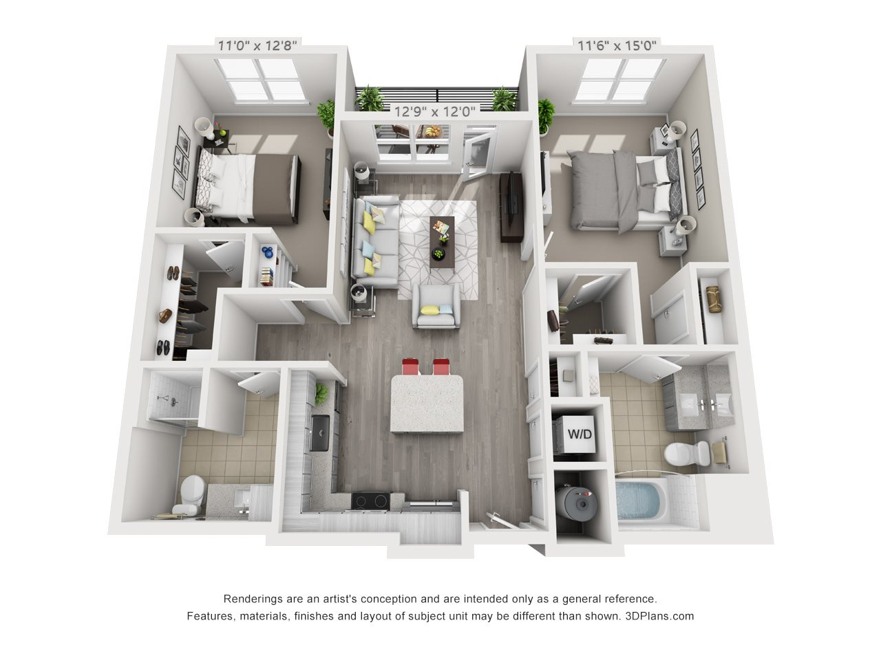 B1C 2 BEDROOM/2 BATH/ CLOSET Floor Plan 14