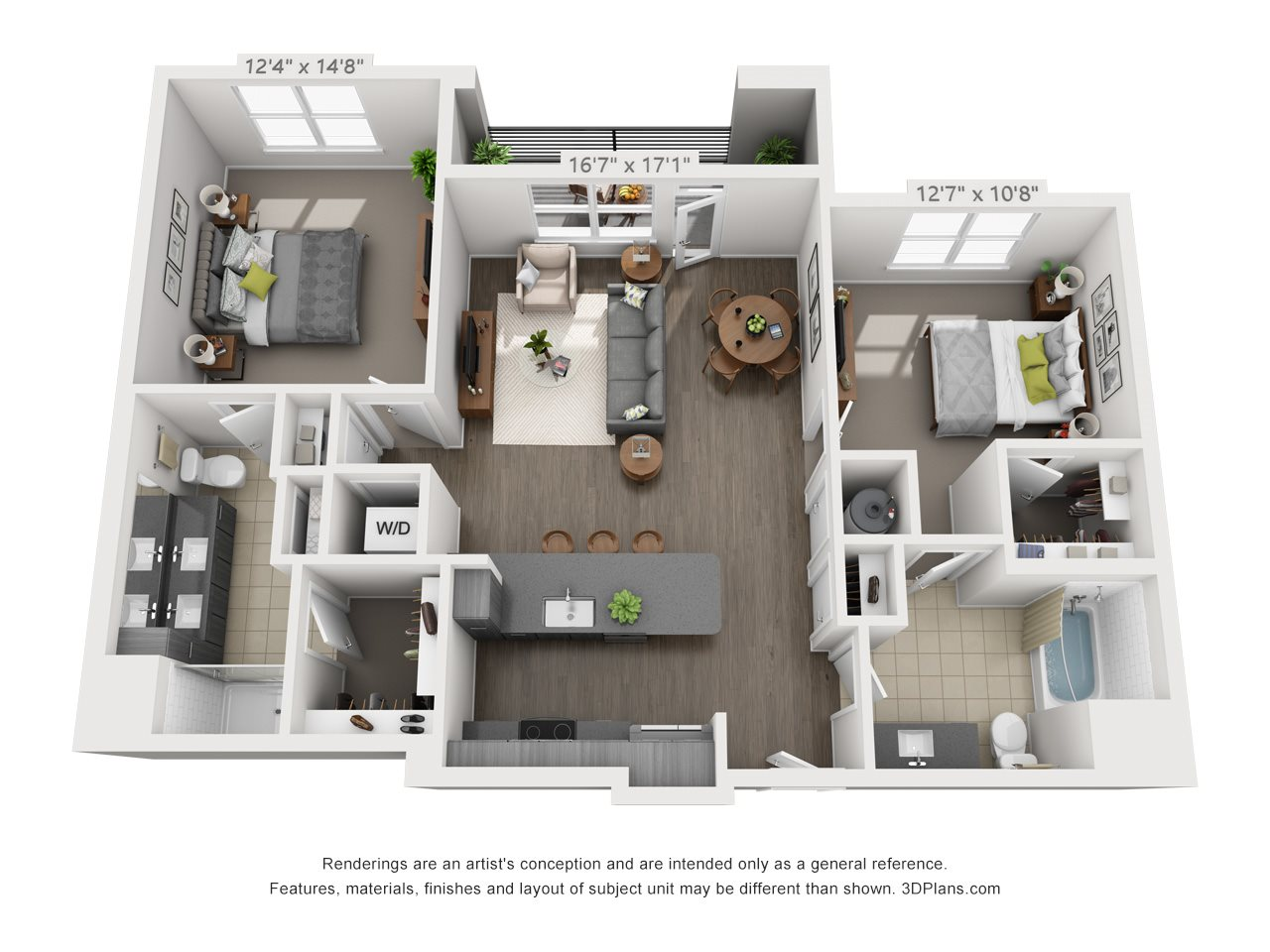 B2 2 BEDROOM/2 BATH Floor Plan 15