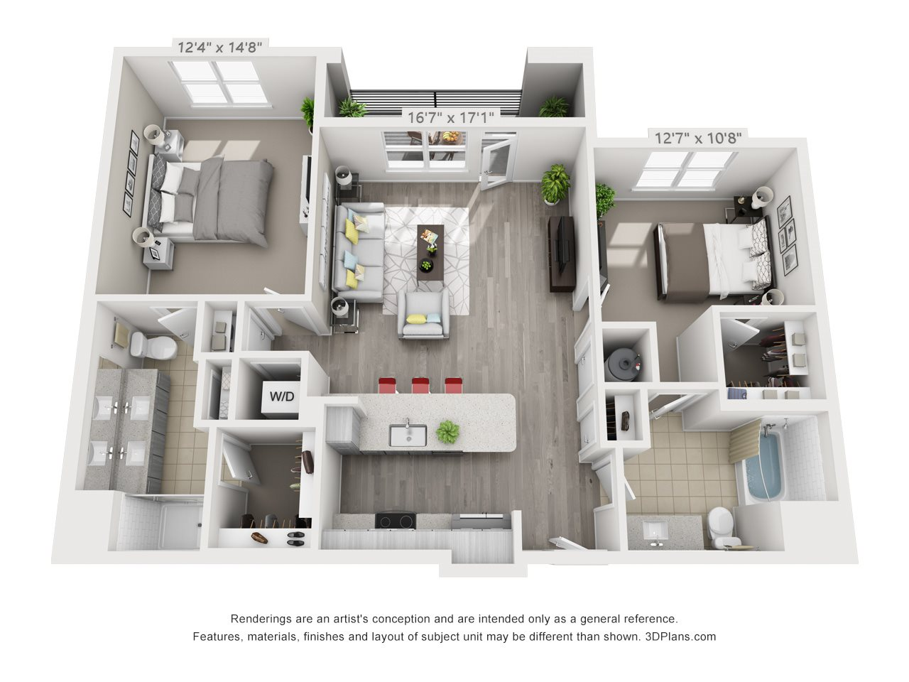 B3 2 BEDROOM/2 BATH Floor Plan 16