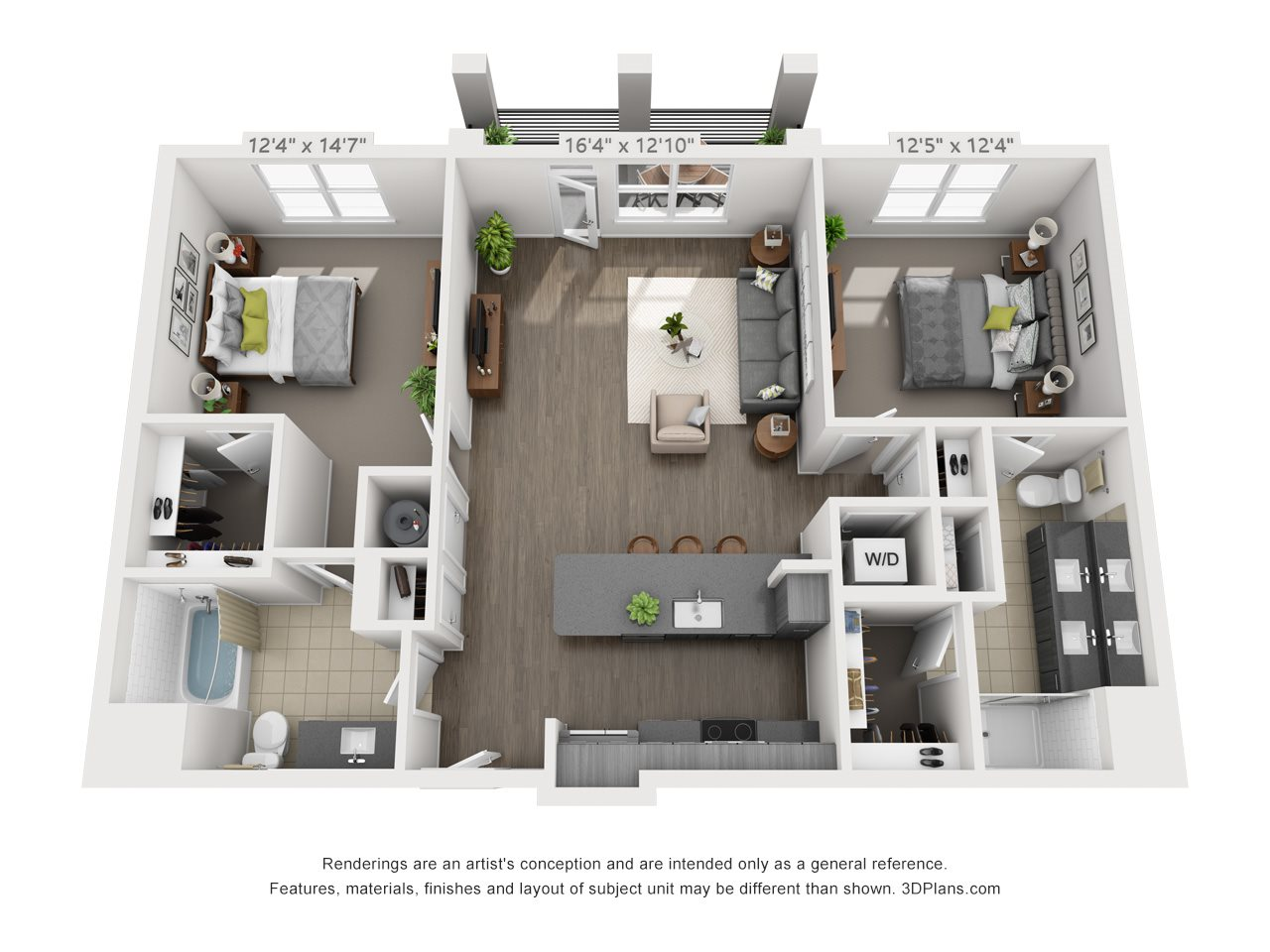 B4 2 BEDROOM/2 BATH Floor Plan 17