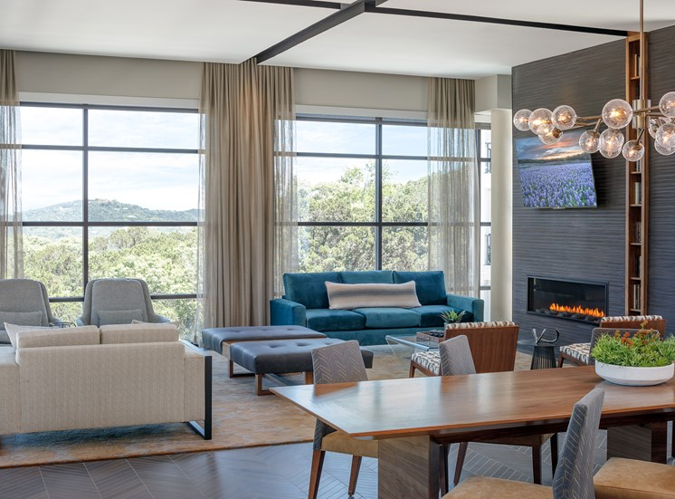 Clubhouse with TV, Fireplace and Kitchen at Ascent Cresta Bella, San Antonio, TX 78256