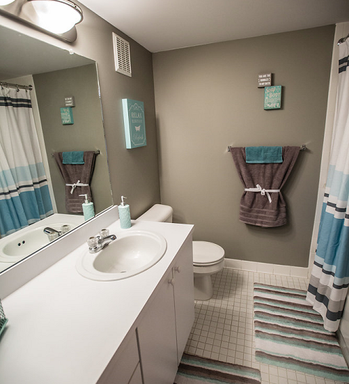 Bathroom at Prentiss Pointe Apartments, Harrison Township 48045