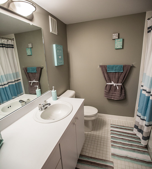 Bathroom at Prentiss Pointe Apartments, Harrison Township 48045