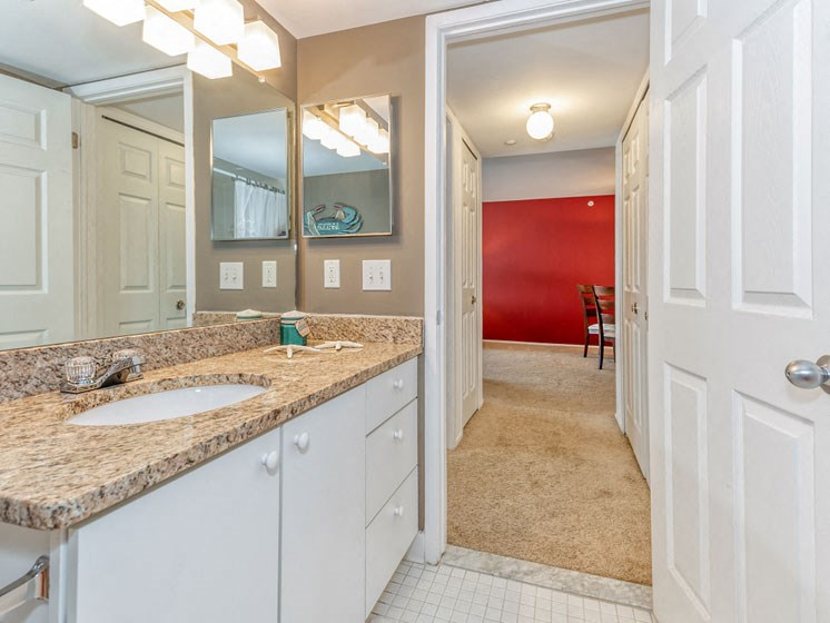 Bathroom Sink and Hallway Overview at Prentiss Pointe Apartments, Harrison Township, MI 48045