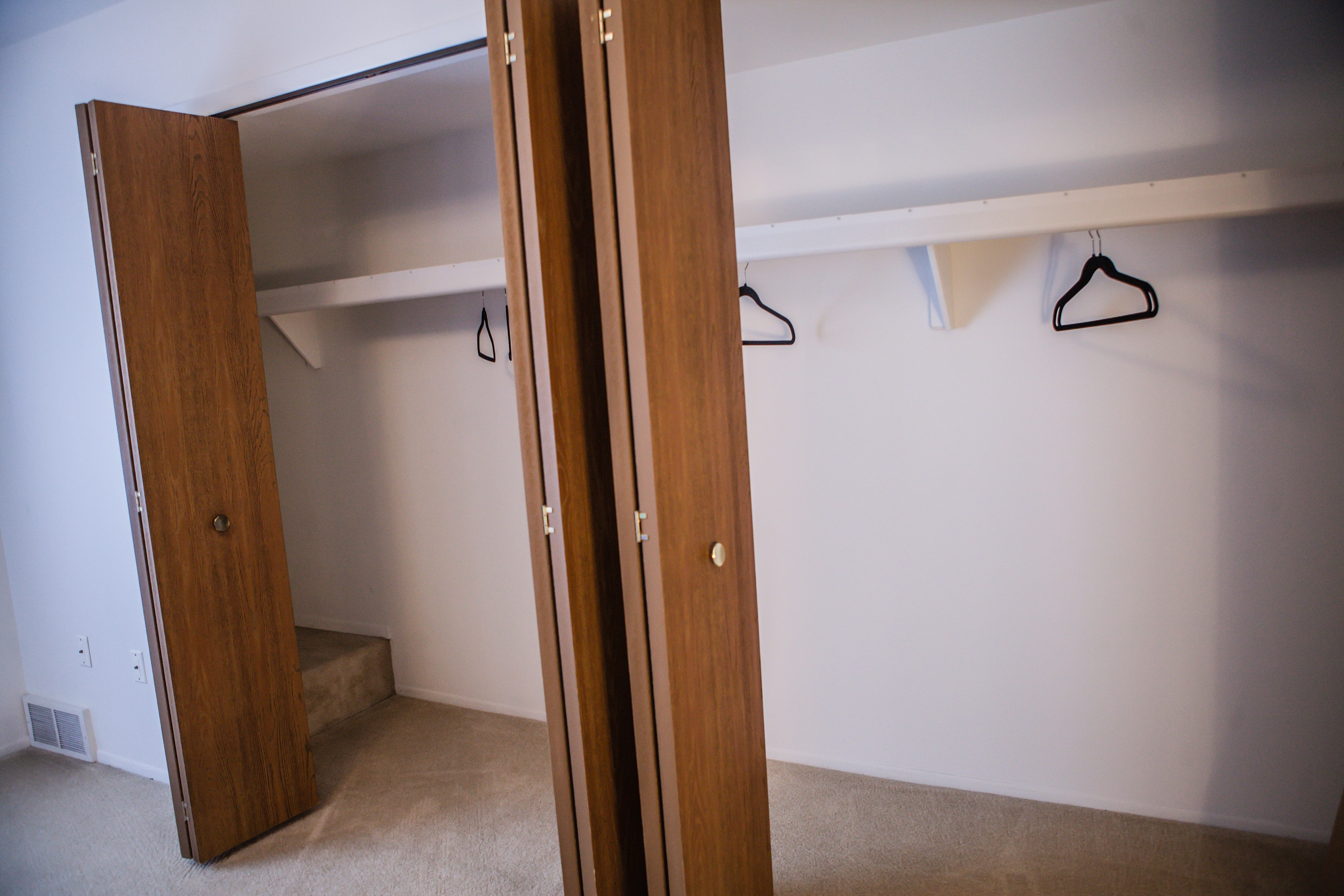 Large Double Closets At Dover Hills Apartments In Kalamazoo, MI