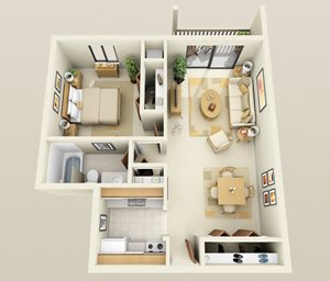One Bedroom One Bath Barrier Free Floorplan at Westwood Village Apartments, MI