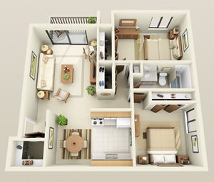 Two Bedroom One Bath Barrier Free Floorplan at Westwood Village Apartments in Westland, MI