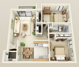 Two Bedroom One Bath Twin Heat Included Floorplan at Westwood Village Apartments in Westland, Michigan