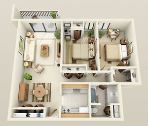 Two Bedroom One Bath Double Heat Included Floorplan at Westwood Village Apartments in Michigan, 48185