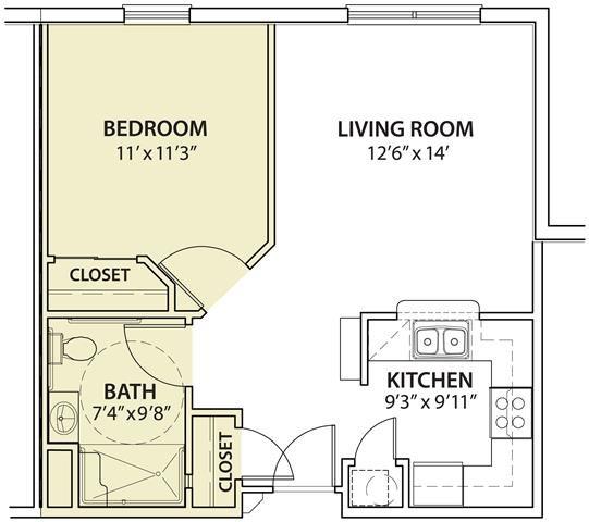 1 Bedroom Floor Plan 1
