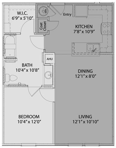 1 bed/1 bath 1 Floor Plan 2