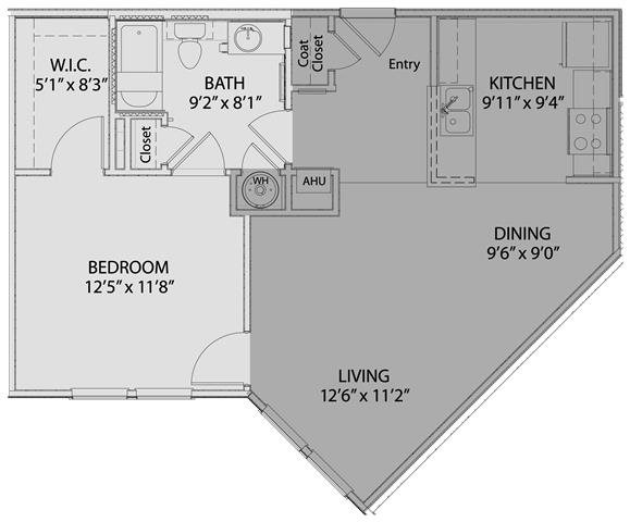1 bed/1 bath 2 Floor Plan 3