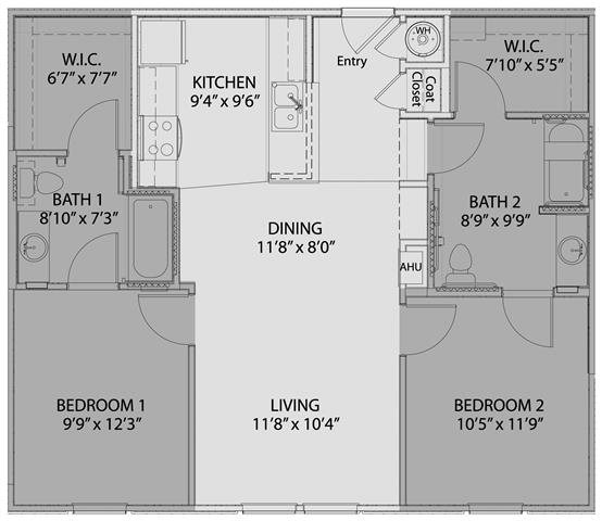 2 bed/2 bath Floor Plan 4