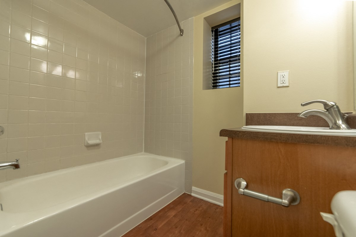Large Soaking Tub In Bathroom at Library Square, Indiana, 46204