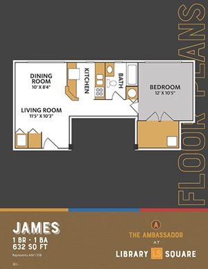 The Ambassador - James FloorPlan at Library Square, Indianapolis, IN