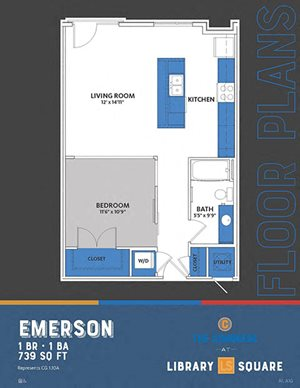 The Congress - Emerson | Steinbeck FloorPlan at Library Square, Indianapolis, IN, 46204