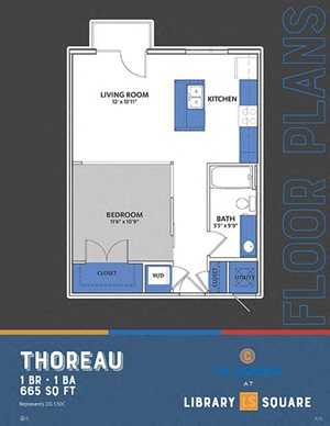 The Congress - Thoreau FloorPlan at Library Square, Indiana, 46204