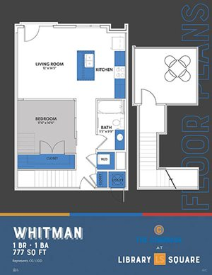 The Congress - Whitman | Walker | Hemingway FloorPlan at Library Square, Indianapolis