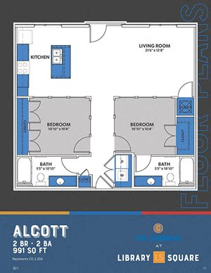 The Congress - Alcott FloorPlan at Library Square, Indianapolis, IN