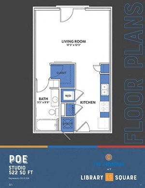 The Congress - Poe FloorPlan at Library Square, Indianapolis, Indiana