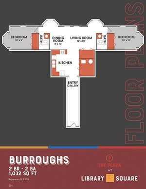 The Plaza - Burroughs FloorPlan at Library Square, Indianapolis, 46204