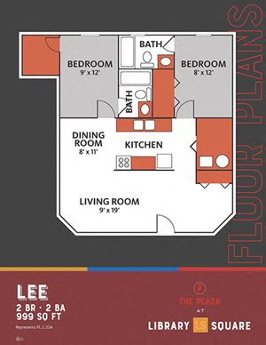 The Plaza - Lee FloorPlan at Library Square, Indianapolis, IN, 46204
