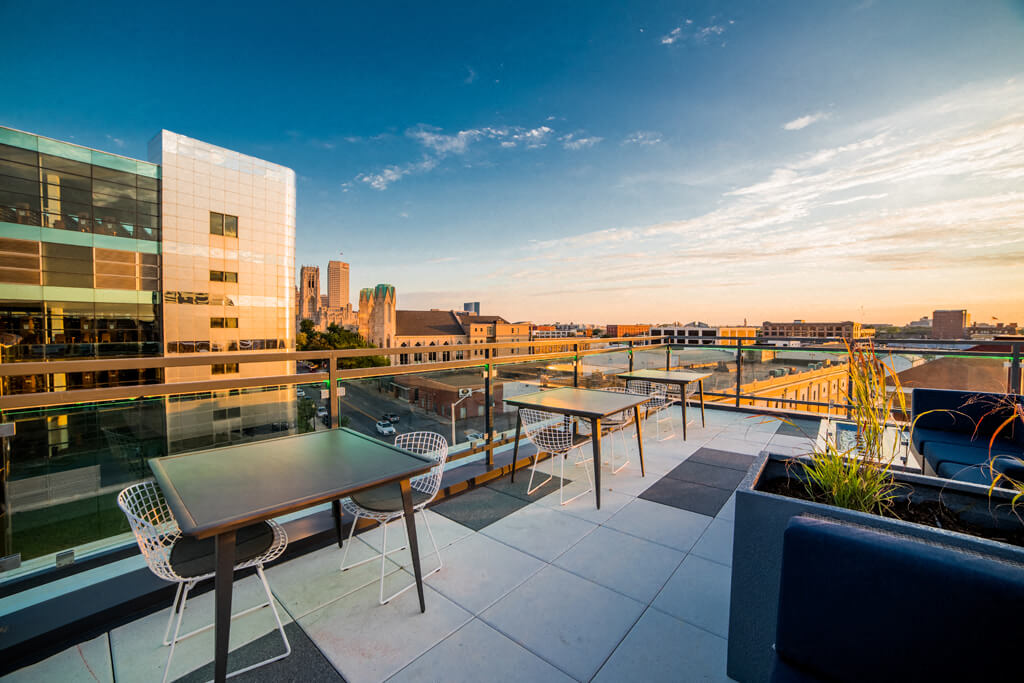 The Congress Rooftop Sundecks with Gorgeous Views  at Library Square, Indianapolis