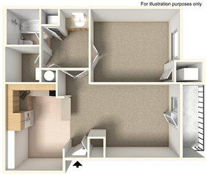 1 Bedroom 1 Bath- W/D