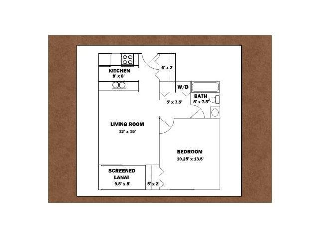 1 BED 1 BATH Floor Plan 1