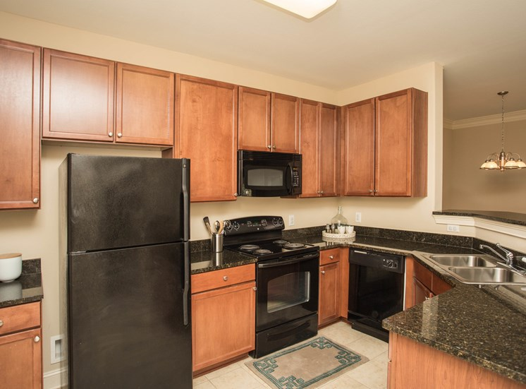 A large, three-quarters kitchen area furnished with modern black applicances The Apartments at the Venue near LaGrange, GA.