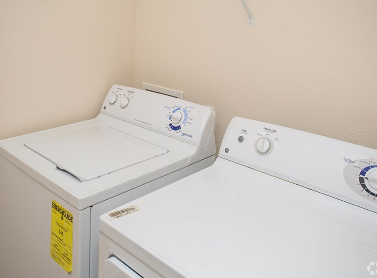 A brand new washer and dryer sit ready for residents at The Apartments at the Venue near LaGrange, GA.