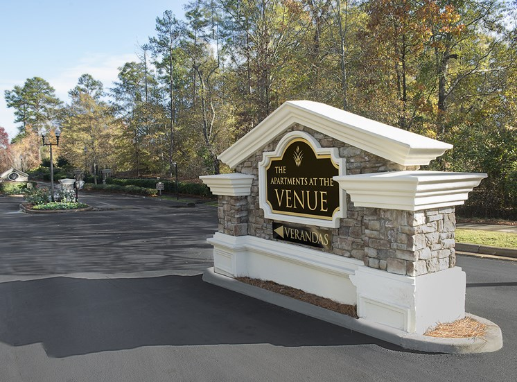 Entrance sign to the Verandas apartment community at The Apartments at the Venue near LaGrange, GA.