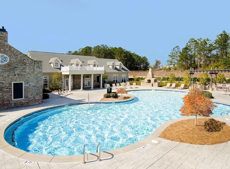 The large Verandas resort-style pool ready for loungers at The Apartments at the Venue near LaGrange, GA.