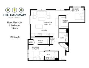 Floor plan at The Parkway Off Central, Blaine, 55434