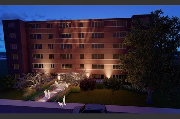 Whispering Oaks Exterior rendering at night