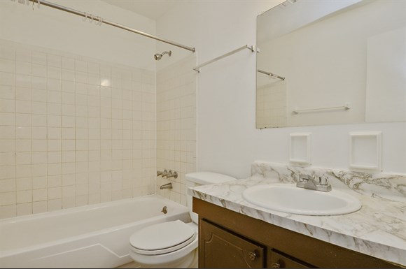 Updated bathroom finishes tie together the perfect apartment to rent in Indianapolis.