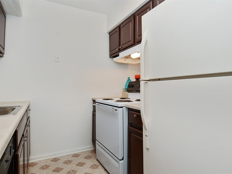 Apartments at Pangea Vineyards offer appliances and updated cabinetry in the kitchen.