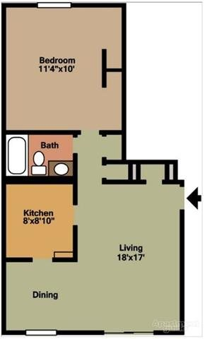 One bedroom floorplan at Pangea Groves Apartments in Indianapolis.