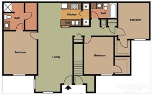 Three bedroom floorplan at Pangea Groves Apartments in Indianapolis.