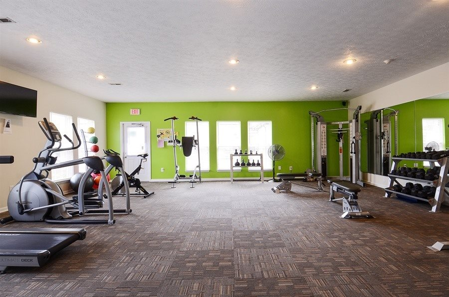 Fitness Center at Pangea Groves Apartments in Indianapolis.
