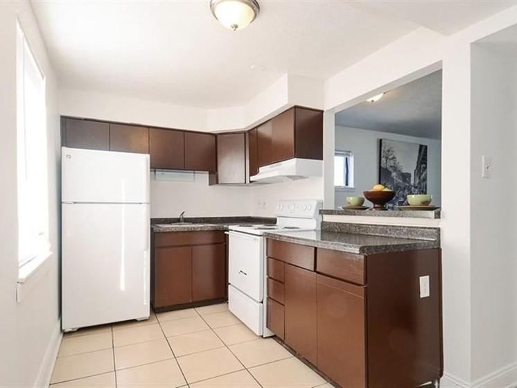 Pangea Vistas Apartments in Indianapolis feature kitchens with appliances included.