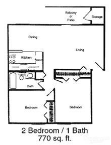 2 Bedrooms 1 Bath Apartment